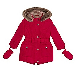 J by Jasper Conran - Girls' red padded parker and mittens