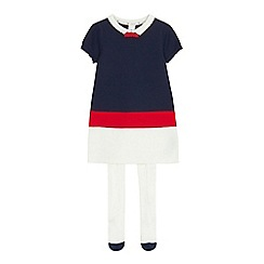 J by Jasper Conran - Girls' navy knitted dress and tights set