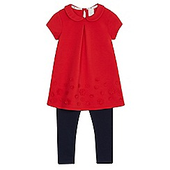 J by Jasper Conran - Girls' red floral applique top and leggings set