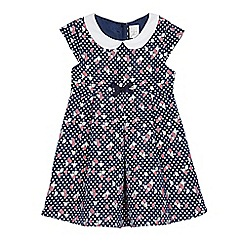 J by Jasper Conran - Girls' navy jacquard floral spotted dress