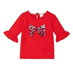 J by Jasper Conran - Girls' red sequinned bow flute sleeve top