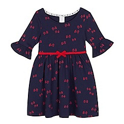 J by Jasper Conran - Girls' navy frill sleeve bow print dress