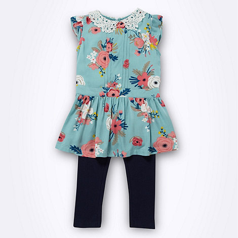 RJR.John Rocha - Designer girl+s blue floral tunic and leggings set
