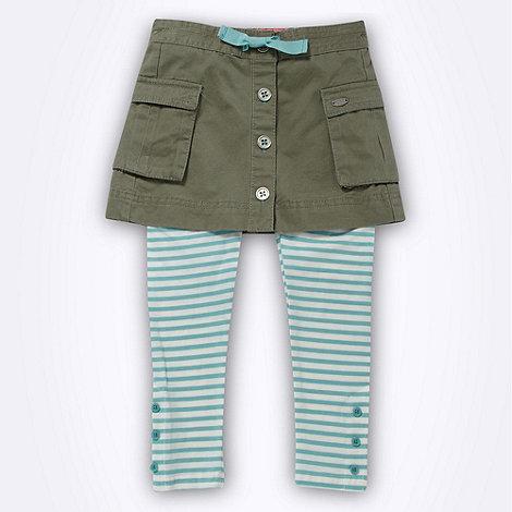 RJR.John Rocha - Designer girl+s green twill skirt and striped leggings
