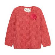 Designer girl's pink chunky knitted rose cardigan