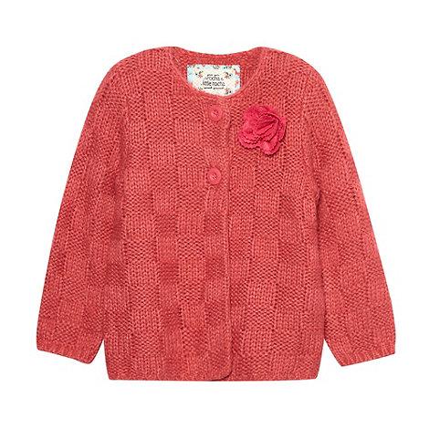 RJR.John Rocha - Designer girl+s pink chunky knitted rose cardigan
