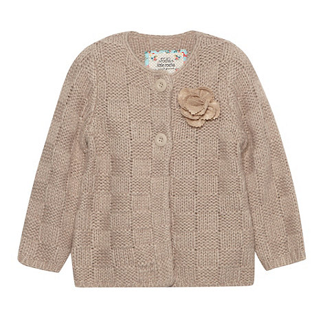 RJR.John Rocha - Designer girl+s taupe chunky knitted rose cardigan