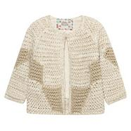 Designer girl's cream metallic knit cardigan