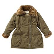 Girl's green faux fur trim parka