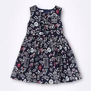 Designer girl's navy house patterned dress