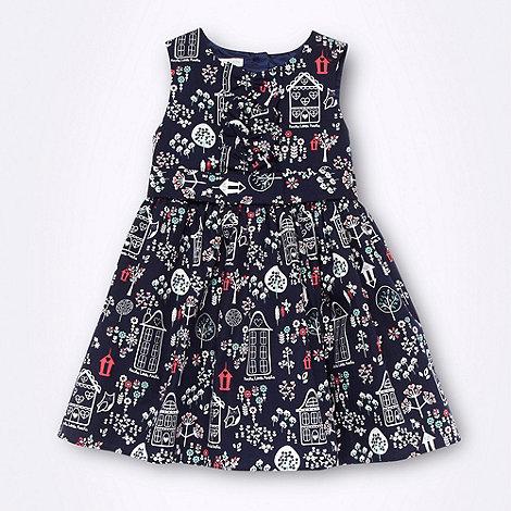 RJR.John Rocha - Designer girl+s navy house patterned dress