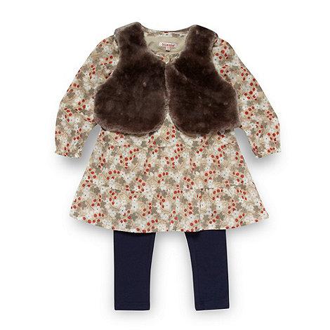 bluezoo - Girl+s beige top, gilet and leggings set