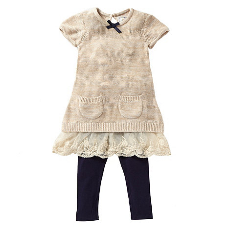 RJR.John Rocha - Designer girl+s natural knitted tunic and leggings set