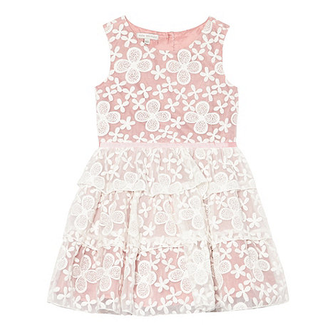RJR.John Rocha - Designer girl+s pink embroidered flower dress