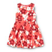 Designer girl's dark pink floral party dress