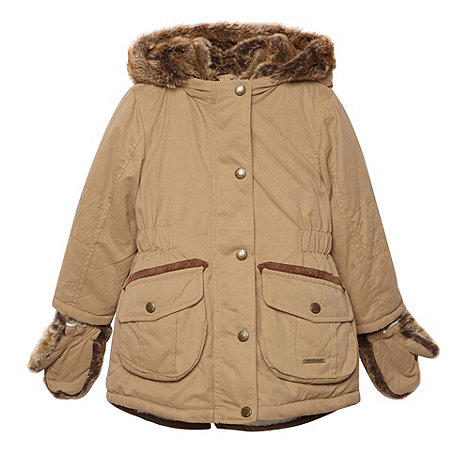 RJR.John Rocha - Girl+s brown faux fur hooded coat with mittens
