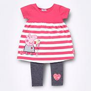 Girl's pink striped 'Peppa Pig' tunic and leggings