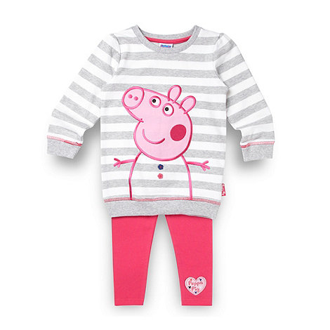 Peppa Pig - Girl+s grey striped +Peppa Pig+ jumper and leggings