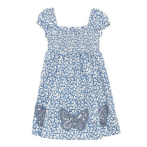 bluezoo - Girl+s blue floral applique butterfly dress