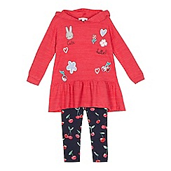 bluezoo - Girls' pink applique hoodie and leggings set