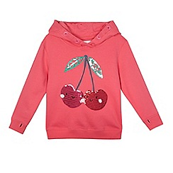 bluezoo - Girls' pink cherry sequin applique hoody