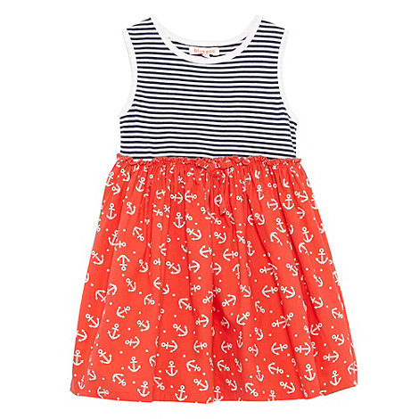 bluezoo - Babies red striped spot dress.