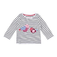 bluezoo - Girls' white sequinned bird applique top