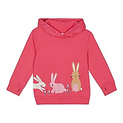 bluezoo - Girls' navy bunny applique hooded sweater
