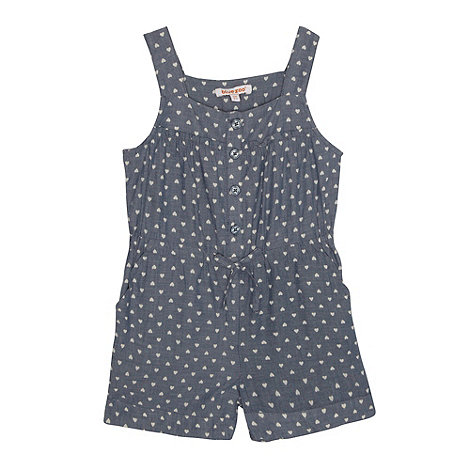 bluezoo - Girl+s blue heart printed chambray playsuit