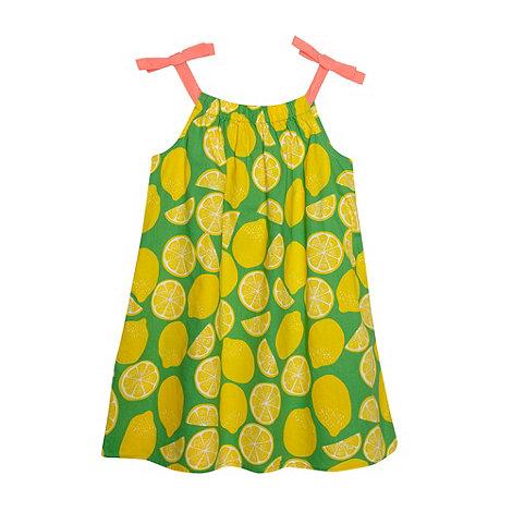 bluezoo - Girl+s green lemon fruit shift dress