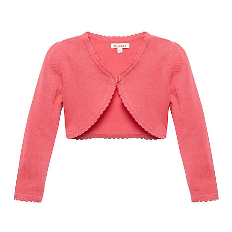 bluezoo - Girl+s dark pink scalloped cardigan