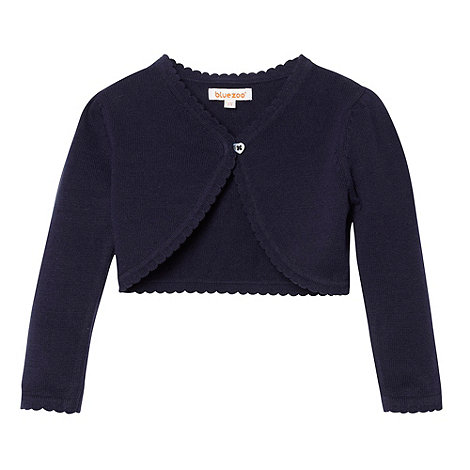 bluezoo - Girl+s navy scalloped cardigan