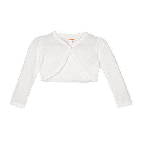 bluezoo - Girl+s white scalloped cardigan