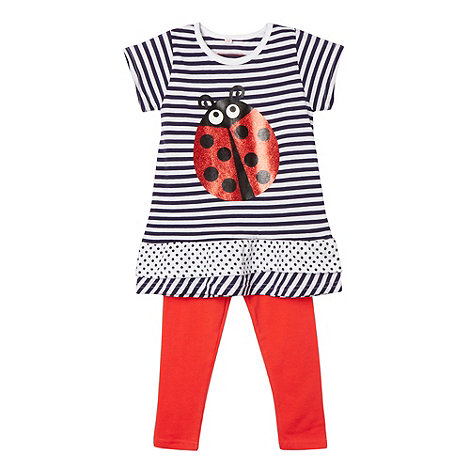 bluezoo - Girl+s red ladybird tunic and leggings