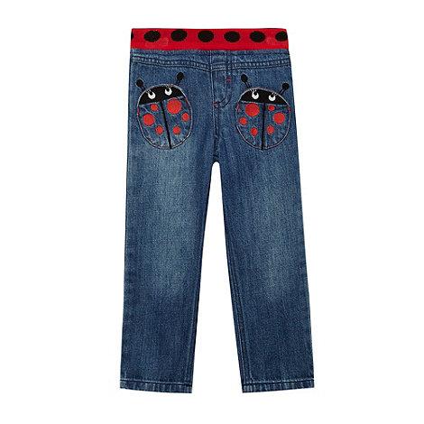 bluezoo - Girl+s blue ladybird applique pocket jeans