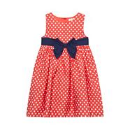 Girl's red spotted bow dress