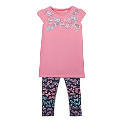 bluezoo - Girls' pink butterfly print top and leggings set