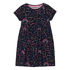 bluezoo - Girls' navy jersey rainbow print dress