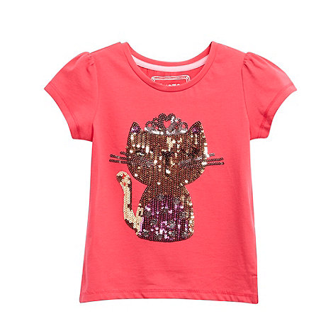 bluezoo - Girl+s pink sequin cat t-shirt