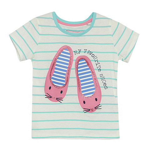 bluezoo - Girl+s white stripe ballet pumps print top
