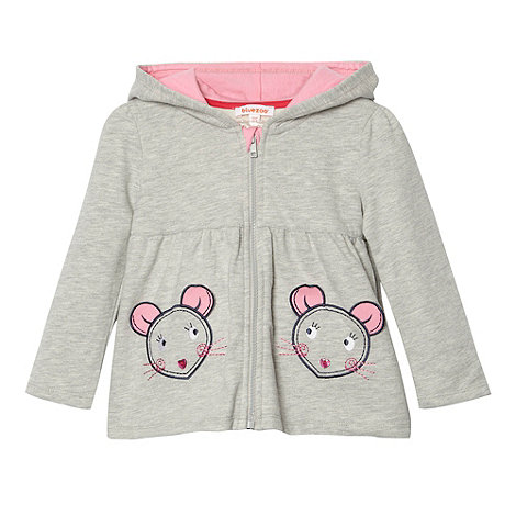 bluezoo - Girl+s grey mouse pocket hoodie