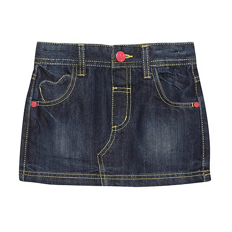 bluezoo - Girl+s navy denim heart stitch skirt