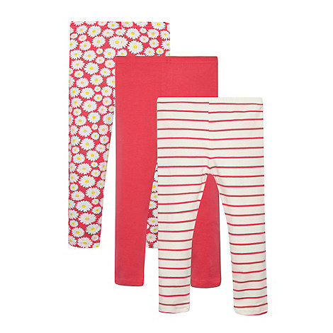 bluezoo - Pack of three girl+s pink striped and daisy printed leggings