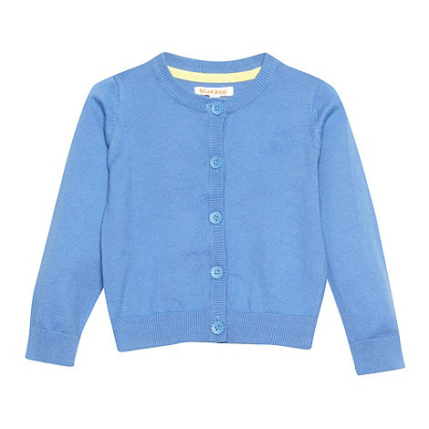 bluezoo - Girl+s light blue daisy button cardigan