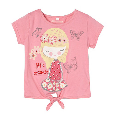 bluezoo - Girl+s pink +Little Dreamer+ tie front t-shirt