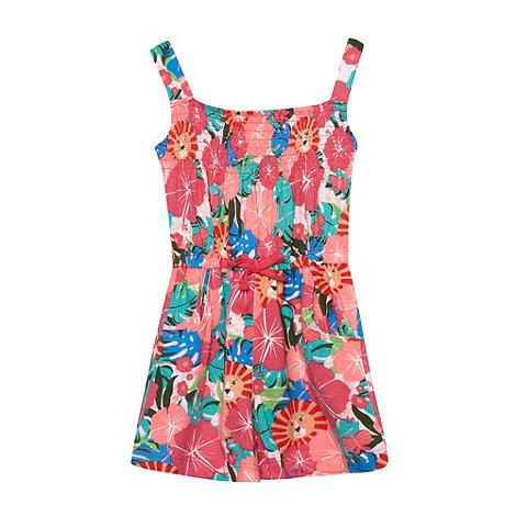 bluezoo - Pack of two girl+s pink floral and plain jersey playsuits
