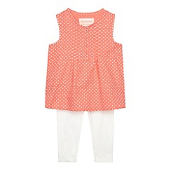 bluezoo - Babies pink spotted top and leggings set