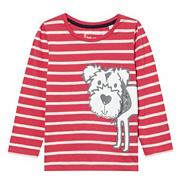 Girl's pink striped Scotty dog top
