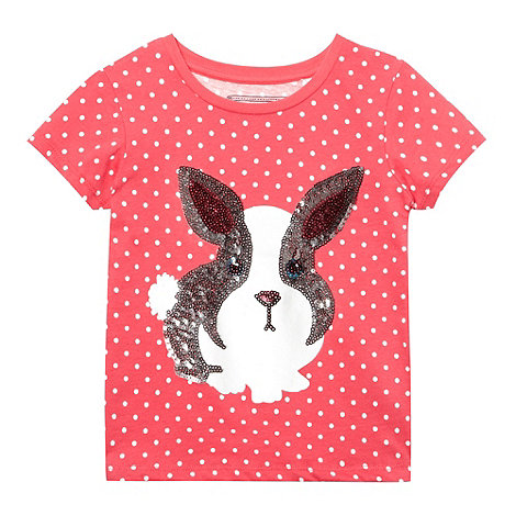 bluezoo - Girl+s pink spotted sequin bunny t-shirt