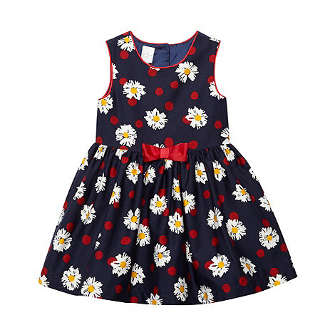 J by Jasper Conran - Designer girl's navy spotted daisy dress